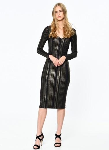 Çizgili Kalem Elbise-Koton